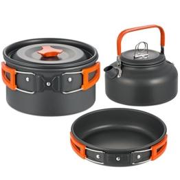 Skysper Outdoor Geschirr Picknickgeschirr Aluminium Kochgeschirr Teekanne Camping Sets - 1