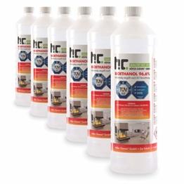 Höfer Chemie 6 x 1 L Bioethanol 96,6% Premium - TÜV SÜD zertifizierte QUALITÄT - für Ethanol Kamin, Ethanol Feuerstelle, Ethanol Tischfeuer und Bioethanol Kamin - 1